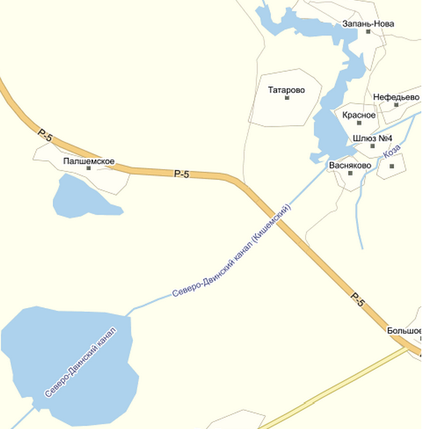 Кишемский канал на карте