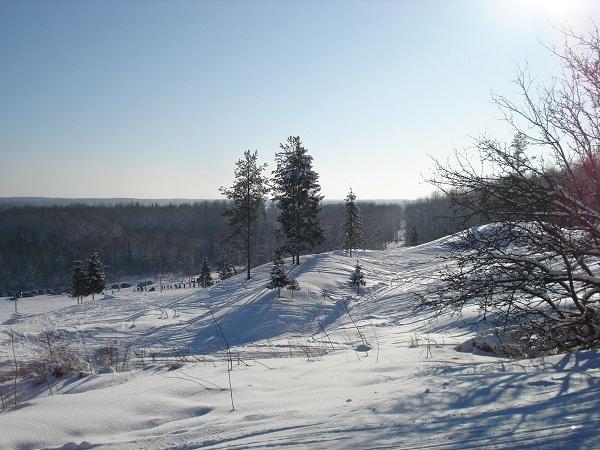 Вид с Цыпиной горы на лыжные трассы зимой