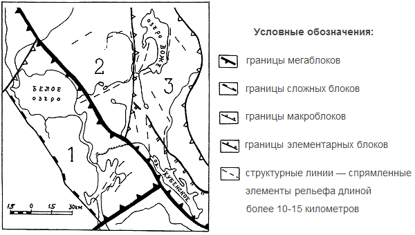 Структурные элементы земной коры Цифрами обозначены границы макроблоков: 1 — Белозерский, 2 — Андомский, 3 — Воже-Лачский